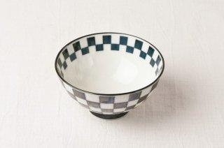 WB107 茶碗 白×青格子
