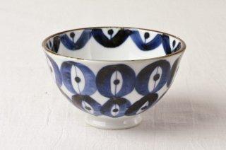 WB130 茶碗 白×紺柄