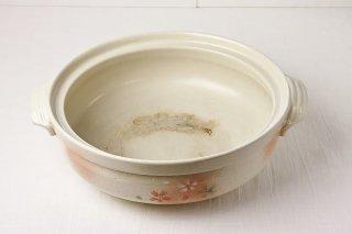 T25 土鍋(白×ピンク花柄)