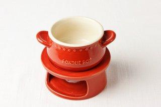 T123 チーズフォンデュ鍋(赤)