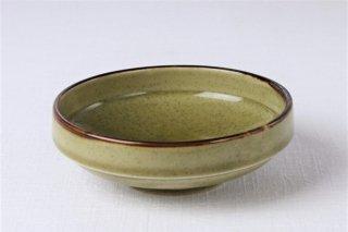 WB290 緑・茶縁・花柄・お碗
