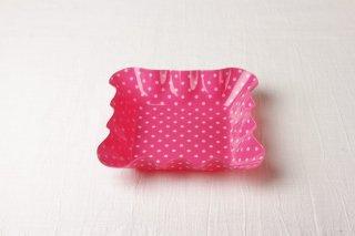 YP16 洋角皿 ピンク水玉