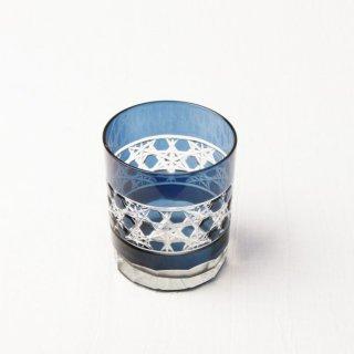 YD04 グラス 切子風・青