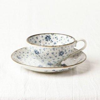 YD38 カップ&ソーサー 白・青花柄・茶ライン