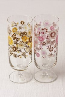 YD67 グラス・黄色花柄・左