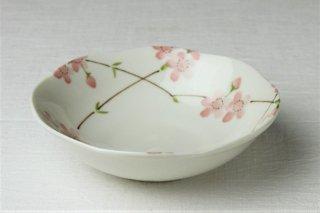 WB313 皿・白・桜の柄