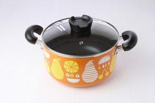 T141 両手鍋・オレンジ