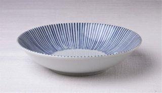 WB291 皿 白×青(縦縞)