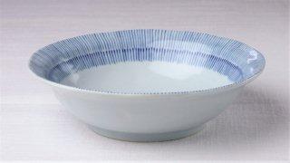 WB292 皿 白×青(縦縞)