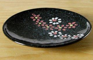 WP73 和皿 黒 花柄