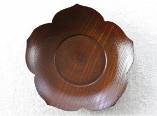 CO014 コースター/花型(茶)・和風・木製