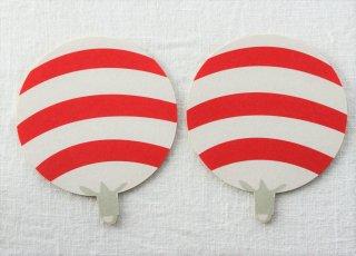 CO034 コースター/うちわ(赤白)・ボーダー・夏