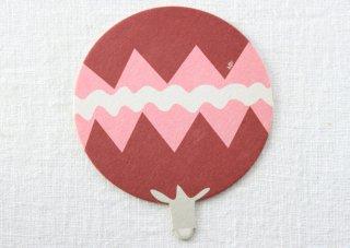 CO037 コースター/うちわ(赤×ピンク×白)・ギザギザ・夏