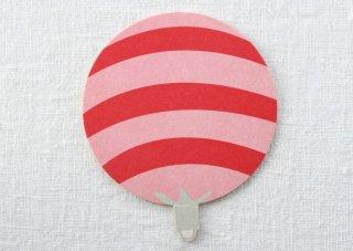 CO038 コースター/うちわ(赤×ピンク)・ボーダー・夏