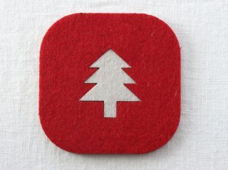 CO047 コースター/四角(赤×白)・洋風・クリスマスツリー
