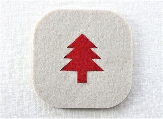 CO048 コースター/四角(白×赤)・洋風・クリスマスツリー