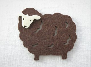 CO051 コースター/羊(グレー×白)・洋風