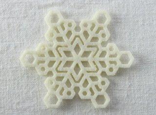 CO074 コースター/雪結晶(白)・洋風・フェルト