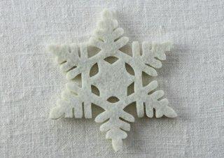 CO075 コースター/雪結晶(白)・洋風・フェルト