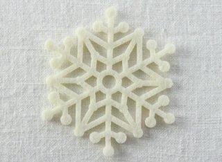 CO076 コースター/雪結晶(白)・洋風・フェルト