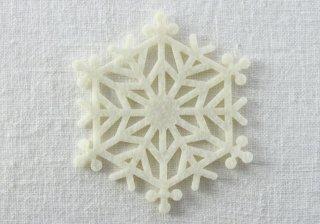 CO077 コースター/雪結晶(白)・洋風・フェルト