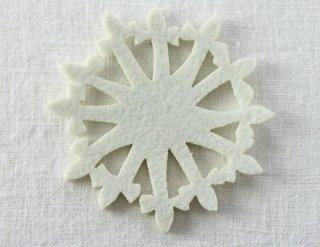 CO079 コースター/雪結晶(白)・洋風・フェルト
