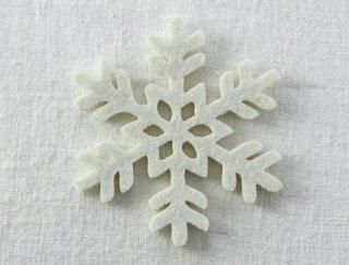 CO080 コースター/雪結晶(白)・洋風・フェルト