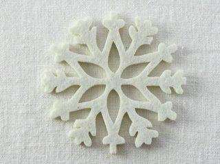 CO081 コースター/雪結晶(白)・洋風・フェルト