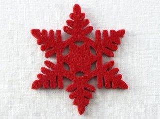 CO082 コースター/雪結晶(赤)・洋風・フェルト