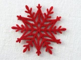 CO083 コースター/雪結晶(赤)・洋風・フェルト
