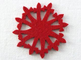 CO084 コースター/雪結晶(赤)・洋風・フェルト