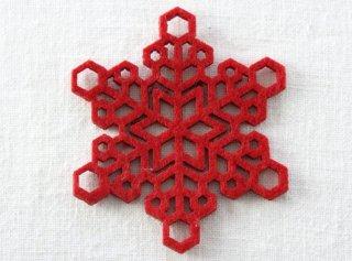 CO087 コースター/雪結晶(赤)・洋風・フェルト