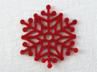 CO089 コースター/雪結晶(赤)・洋風・フェルト