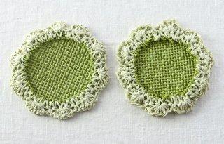 CO122 コースター/花型(緑×薄緑)・和風・手編み