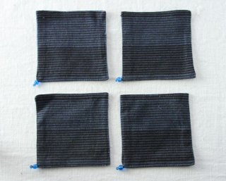 CO127 コースター/四角(青・黒)・和風・布