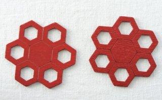 CO161 コースター/六角花型(赤)・和風(アジアン)・木製