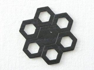 CO162 コースター/六角花型(黒)・和風(アジアン)・木製