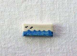 HO064 箸置き/四角(青)・波とかもめ