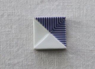 HO070 箸置き/四角(青×白)