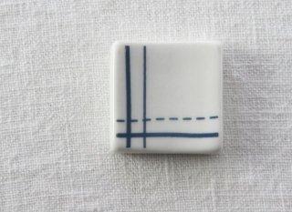 HO095 箸置き/四角(青×白)