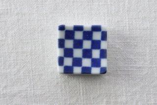HO098 箸置き/四角(青×白)・市松