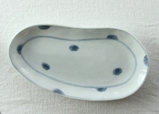 WP830 和皿/豆(白×青)・花柄