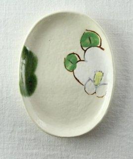 WP833 和皿/楕円(白×緑×黄)・花