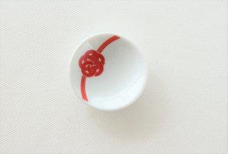 WP158 豆皿/丸(白×赤)・水引き