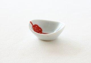 WP159 豆皿/丸(白×赤)・水引き