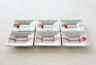 WP160 豆皿/四角(白×赤)・水引き