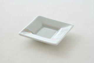 WP166 豆皿/四角(白)・虹色