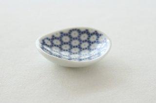 WP167 豆皿/丸(白×青)・花柄