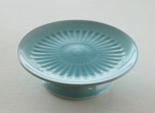WP173 和風皿/丸(青)・高台付き