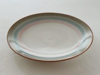 WP179 和風大皿/丸(白×茶×ピンク×緑)